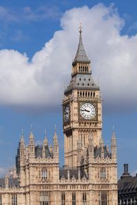 Low Angle View of Big Ben and Houses of Parliament, City of Westminster, London, England