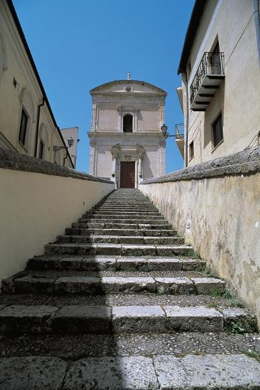 Low Angle View of Buildings Along a Staircase, Racalmuto, Sicily, Italy--Giclee Print