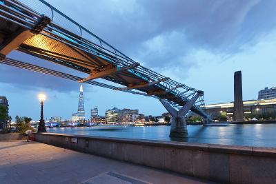 Low Angle View of Millennium Bridge, Thames River, Southwark, London, England--Photographic Print
