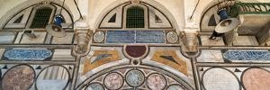 Low angle view of mosaic tiles on wall of a mosque, El-Jazzar Mosque, Acre (Akko), Israel