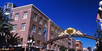 Low angle view of sign, Gaslamp Quarter, San Diego, California, USA--Photographic Print