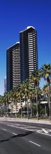 Low angle view of skyscrapers in a city, San Diego, California, USA