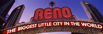 Low Angle View of the Reno Arch at Dusk, Virginia Street, Reno, Nevada, USA