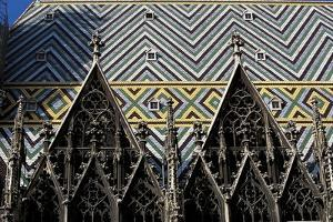 Low Angle View of the Tiled Roof of a Church, St Stephens Cathedral, Vienna, Austria