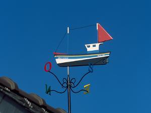Low angle view of weather vane, Creac'h Lighthouse, Ushant Island, Finistere, Brittany, France
