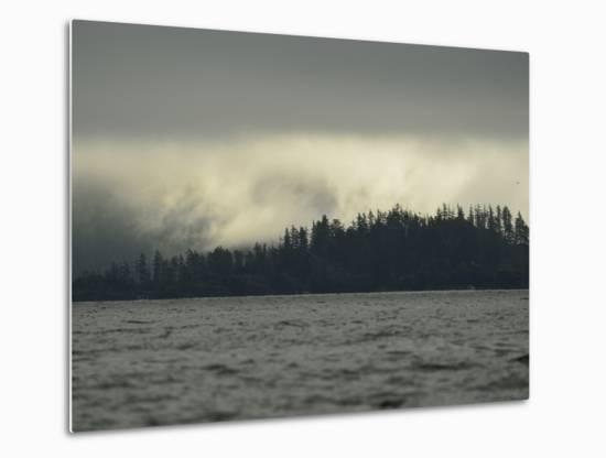 Low Clouds over a Forested Rocky Shore on Sgang Gwaay, or Anthony Island-Jonathan Kingston-Metal Print