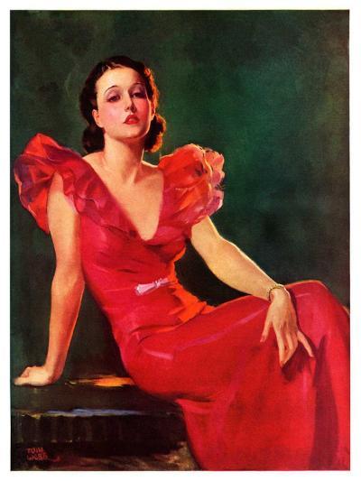 """Low-Cut Red Dress,""January 20, 1934-Tom Webb-Giclee Print"