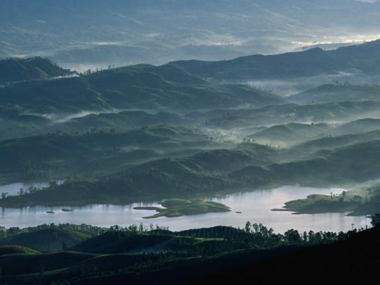 Low Lying Hills and Waterways from Adam's Peak, Sri Lanka-Anders Blomqvist-Photographic Print