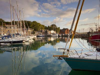 Low Morning Light and Sailing Yacht Reflections at Padstow Harbour, Cornwall, England, United Kingd-Neale Clark-Photographic Print