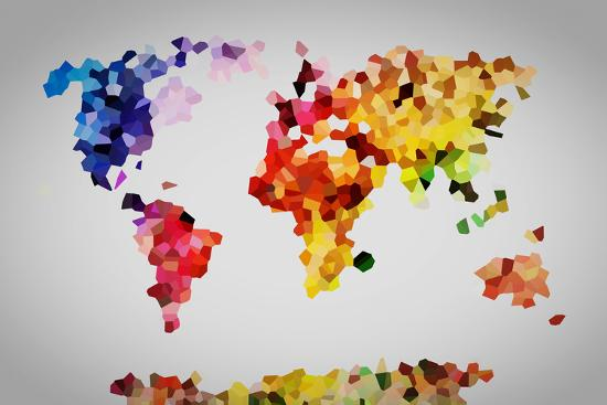 Low poly colorful world map art print by michal bednarek the new low poly colorful world map michal bednarek gumiabroncs Gallery