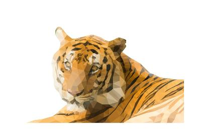 Low Poly Image of Tiger Isolated on White Background with Clipping Path- nantapok-Art Print
