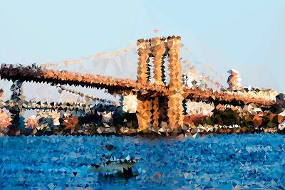 Low Poly New York Art - Brooklyn Bridge-Philippe Hugonnard-Art Print
