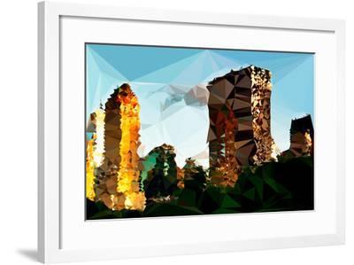 Low Poly New York Art - Central Park Buildings at Sunset-Philippe Hugonnard-Framed Art Print