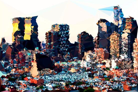 Low Poly New York Art - Hell's Kitchen Buildings-Philippe Hugonnard-Art Print