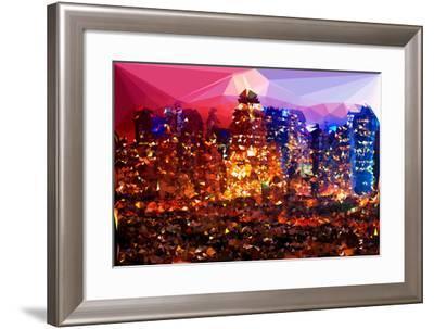 Low Poly New York Art - Rasberry Night-Philippe Hugonnard-Framed Art Print