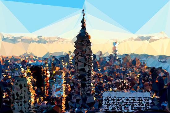 Low Poly New York Art - Skyline Sunset-Philippe Hugonnard-Art Print