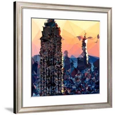 Low Poly New York Art - Skyscrapers Sunset II-Philippe Hugonnard-Framed Art Print