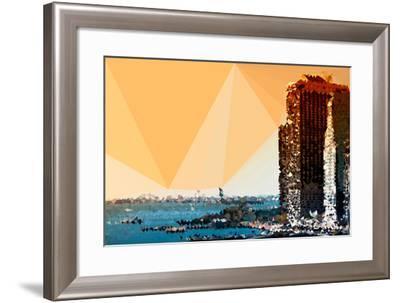 Low Poly New York Art - Sunset Pier-Philippe Hugonnard-Framed Art Print