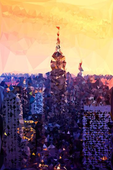 Low Poly New York Art - The Empire State Building at Sunset-Philippe Hugonnard-Art Print
