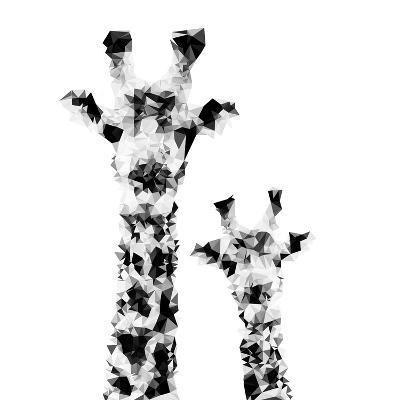 Low Poly Safari Art - Giraffes - White Edition II-Philippe Hugonnard-Art Print