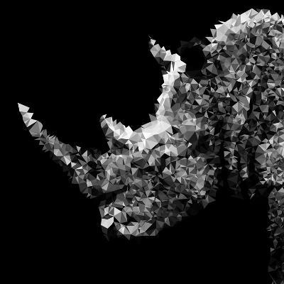 Low Poly Safari Art - Rhino - Black Edition III-Philippe Hugonnard-Art Print