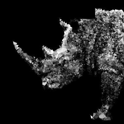 Low Poly Safari Art - Rhino - Black Edition-Philippe Hugonnard-Art Print