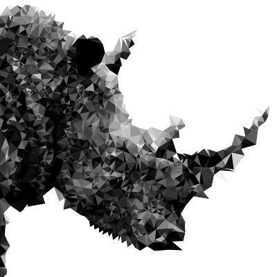 Low Poly Safari Art - Rhino - White Edition II-Philippe Hugonnard-Art Print