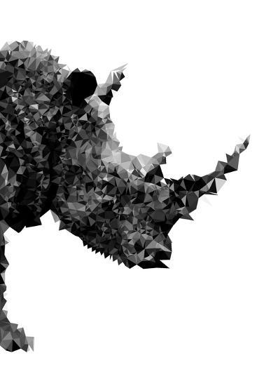 Low Poly Safari Art - Rhino - White Edition-Philippe Hugonnard-Art Print