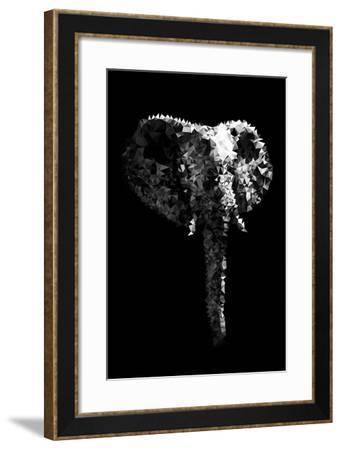 Low Poly Safari Art - The Elephant - Black Edition-Philippe Hugonnard-Framed Art Print