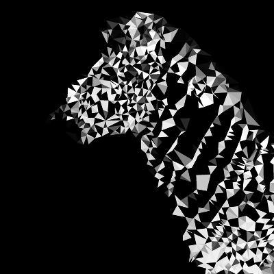 Low Poly Safari Art - Zebra Profile - Black Edition-Philippe Hugonnard-Art Print