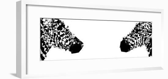 Low Poly Safari Art - Zebras - White Edition II-Philippe Hugonnard-Framed Premium Giclee Print