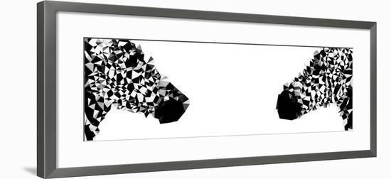 Low Poly Safari Art - Zebras - White Edition II-Philippe Hugonnard-Framed Art Print