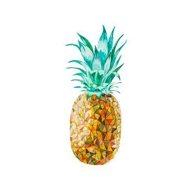 Low Poly Watercolor Pineapple- lidiapuica-Art Print