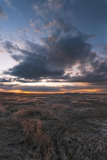 Low Rainclouds Rolling Over Grasslands Of Great Salt Lake In Layton, Utah-Austin Cronnelly-Photographic Print