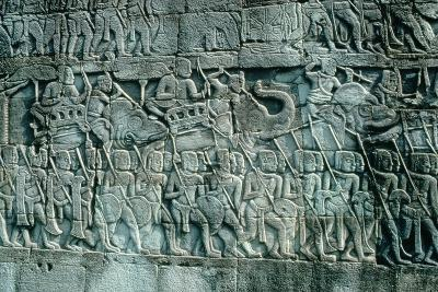 Low Relief Sculpture of War Elephants and Foot Soldiers, C.1181-1220--Photographic Print