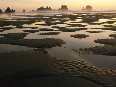 Low Tide on a Beach with Sea Stacks in Olympic National Park-Melissa Farlow-Photographic Print