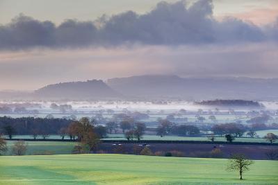 Low Winter Light Rakes across Cheshire Plain with Beeston Castle and Peckforton Sandstone Ridge-Garry Ridsdale-Photographic Print