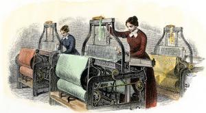 Lowell Girls Weaving in Massachusetts Textile Mills, c.1850