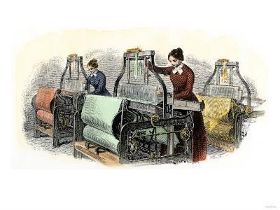 Lowell Girls Weaving in Massachusetts Textile Mills, c.1850--Giclee Print