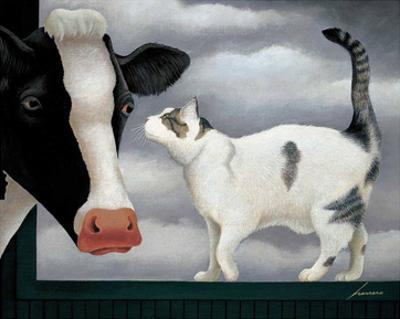Cow and Cat by Lowell Herrero