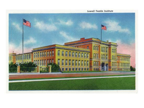 Lowell, Massachusetts, Exterior View of the Lowell Textile Institute-Lantern Press-Art Print