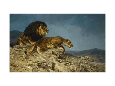 Lowen auf dem Raubzuge-Julius Hugo Bergmann-Giclee Print
