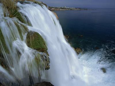 Lower Duden Falls Plunging into the Sea 10Km East of Antalya, Anatolia, Turkey Minor, Eurasia-Robert Francis-Photographic Print