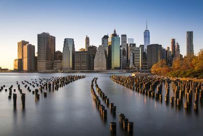 Lower Manhattan Skyline at Sunset from Brooklyn Bridge Park, Brooklyn, New York, USA-Stefano Politi Markovina-Photographic Print