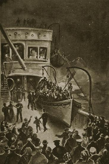 Lowering of the Life-Boats from the Titanic--Giclee Print