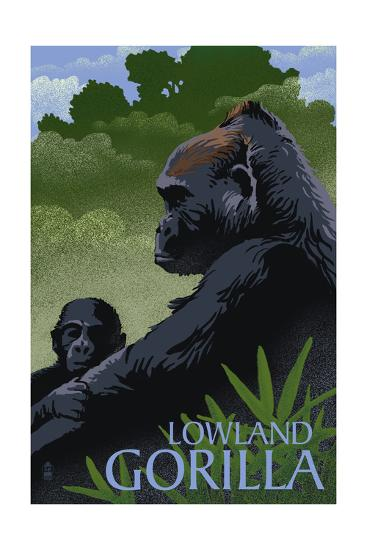 Lowland Gorilla - Lithograph Series-Lantern Press-Art Print