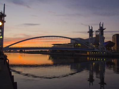 Lowry Centre at Dusk, Salford Quays, Manchester, England, United Kingdom, Europe-Charles Bowman-Photographic Print