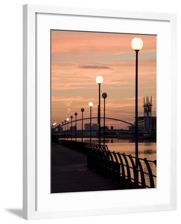Lowry Footbridge and Canal in the Evening, Salford, Manchester, England, United Kingdom, Europe-Charles Bowman-Framed Photographic Print