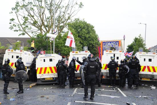 Loyalist Protesters Attack Police Lines at the Albertbridge Road in Belfast, Northern Ireland-Stocktrek Images-Photographic Print