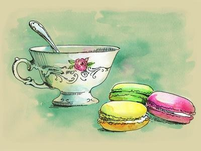 Painted Watercolor French Dessert Macaroons and a Cup of Tea